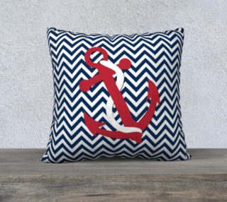 Anchor - Red Anchor on Blue and White Chevron preview