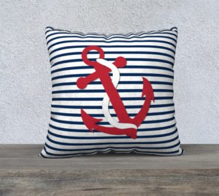 Anchor Pillow - Red Anchor on Blue and White Stripes preview