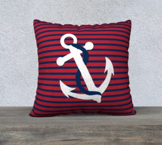 Aperçu de Anchor Pillow White Anchor on Red and Blue Stripes