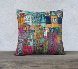 Housse de coussin -Pillow Case Amour en ville  - Love in Town 22 x 22 par Mélanie Bernard preview