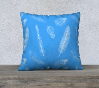 Feather Pattern Blue Pillow preview