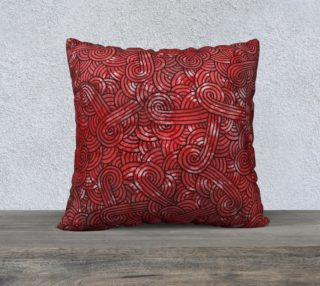 Red and black swirls doodles 22 x 22 Pillow Case preview
