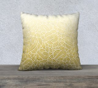 Ombre yellow and white swirls doodles 22 x 22 Pillow Case preview