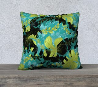 Jurassic Pillow - Teal & Chartreuse preview