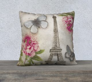Vintage Paris Eiffel Tower Shabby Chic Peonies preview