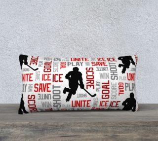 "For the Love of Hockey - Red Pillow Case - 24""x12"" preview"