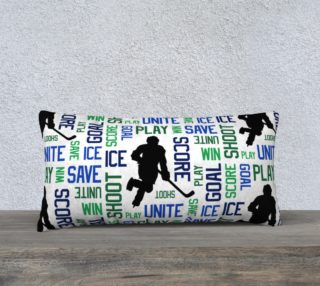 """For the Love of Hockey - Blue and Green Pillow Case - 24""""x12"""" preview"""