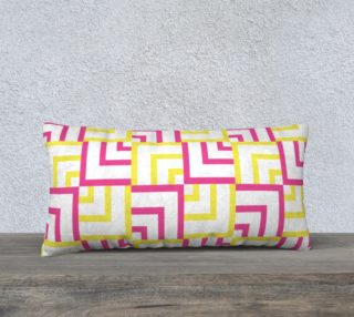Pink and Yellow Squares 24x12 Pillow Case preview