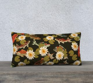 """Koi & Lily Pads in Dark Water - 24"""" x 12"""" Pillow Case preview"""