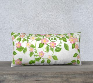 """Serene Floral Forest White Pillow Cover 24"""" X 12"""" preview"""