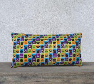 Aperçu de I Love Pugs Color Squares Long Pillow