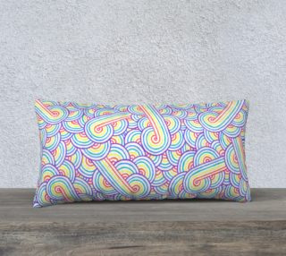 Rainbow and white swirls doodles 24 x 12 Pillow Case aperçu