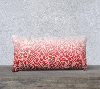 Ombre red and white swirls doodles 24 x 12 Pillow Case aperçu