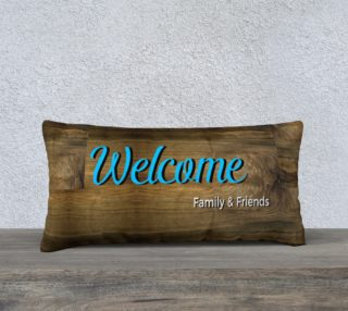 Woodgrain Welcome Family & Friends Pillow Cover preview