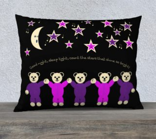 Purple and Pink Sleepy Bears Pillow Case 26 x 20  preview