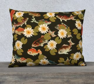 """Koi & Lily Pads in Dark Water - 26"""" x 20"""" Pillow Case preview"""