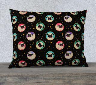 Aperçu de Pugs In Circles & Stars Pillowcase