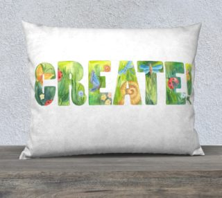 Create! Motivation inspiration phrase, handwork watercolor design with snails and dragonflies preview