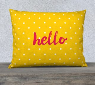Hello on pastel yellow polka dots background preview