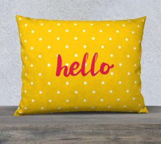 Hello on pastel yellow polka dots background aperçu