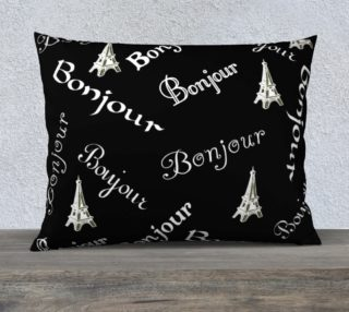 White Bonjour Pillow Case Style3 preview