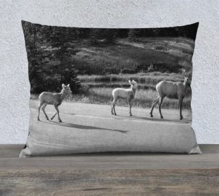 Mom and the Kids-B&W Pillow Case preview