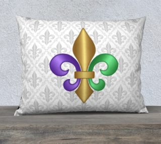 Purple Green Gold Fleur-de-Lis on Gray Pattern preview