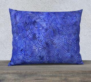 Royal blue swirls doodles 26 x 20 Pillow Case aperçu