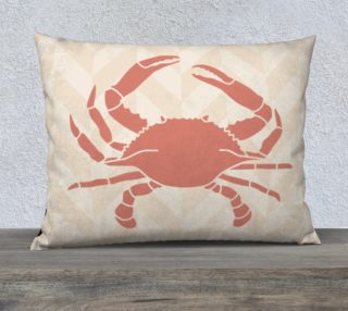 Orange Crab Stencil on Sandy Beige Zigzag Stripes preview