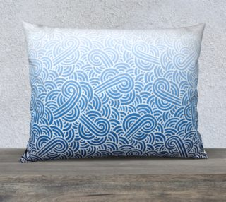 Ombre blue and white swirls doodles 26 x 20 Pillow Case preview