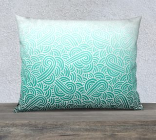 Ombre turquoise blue and white swirls doodles 26 x 20 Pillow Case preview