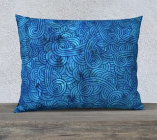 Turquoise blue swirls doodles 26 x 20 Pillow Case preview