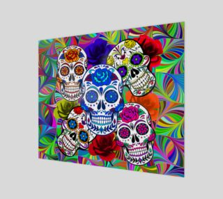 Aperçu de Sugar Skulls Circular Colorful Geometric Abstract Art Print