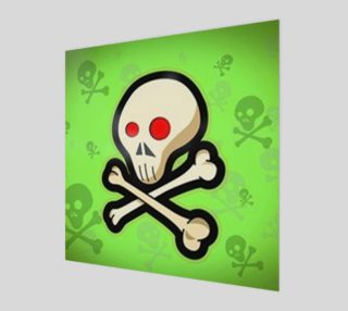 Cartoon Skull On Green Wall Art preview