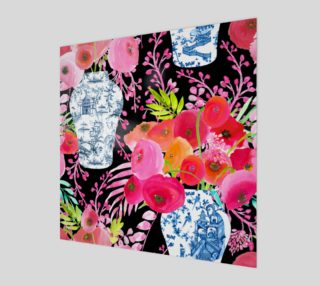 Chinoiserie Vase with Watercolour Flowers on Black preview