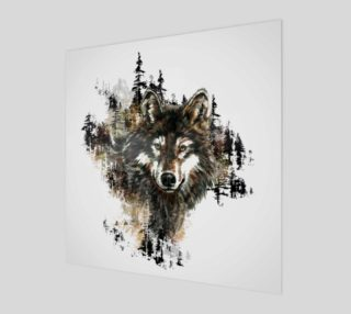Watercolor Wolf Mountain Wildlife Animal Art preview