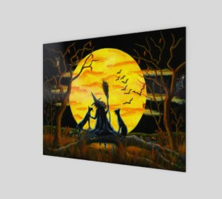 Halloween witch and black cats art print preview