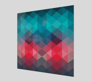 Retro Abstract Teal, Aqua, Pink, Coral Unique Geometric Faceted, Triangles preview