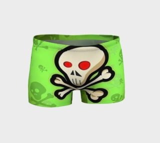 Cartoon Skull On Green Shorts preview