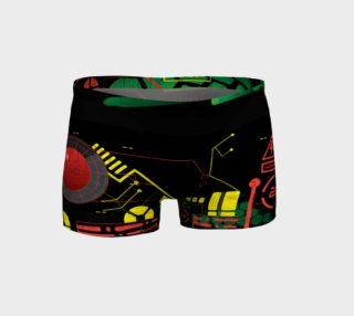 Futuristic Sci-Fi Techno Red Green Yellow Shorts preview