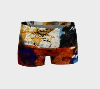 ocher blue and rust abstract workout shorts preview