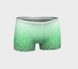 Aperçu de Ombre green and white swirls doodles Shorts