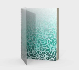 Ombré teal blue and white swirls doodles Spiral Notebook aperçu