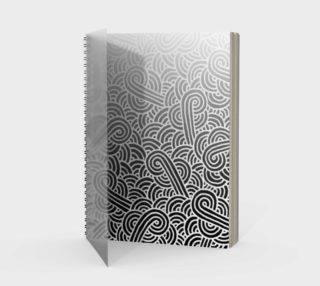 Ombré black and white swirls doodles Spiral Notebook preview