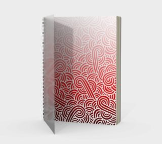 Ombré red and white swirls doodles Spiral Notebook preview