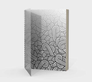 Gradient black and white swirls doodles Spiral Notebook preview