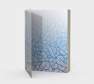 Gradient blue and white swirls doodles Spiral Notebook preview