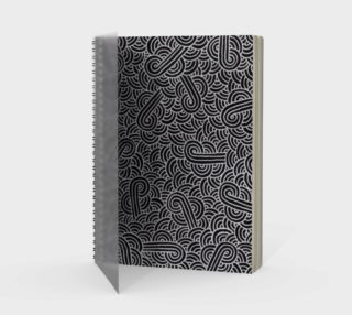 Faux silver and black swirls doodles Spiral Notebook preview