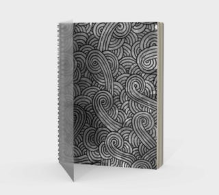 Grey and black swirls doodles Spiral Notebook preview