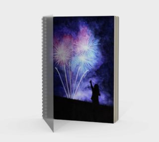 Blue and pink fireworks Spiral Notebook preview